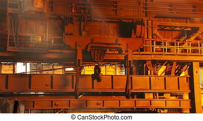 Work crane - Hot steel pouring in steel plant