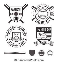 Set of vintage badge, emblem and elements for baseball team,...