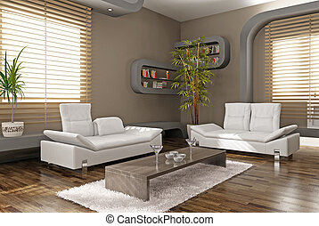 modern apartment interior 3D rendering