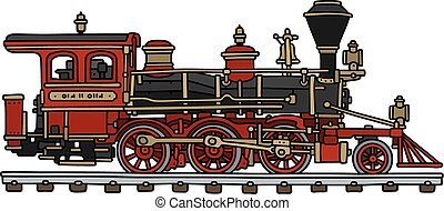 Classic american steam locomotive - Hand drawing of a...