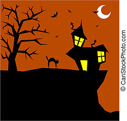 Halloween cat on a scary background - Halloween cat...