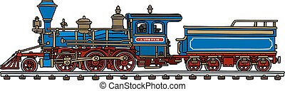 Old american steam locomotive - Hand drawing of a classic...