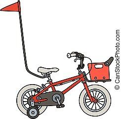 Red child bike - Hand drawing of a red child bike