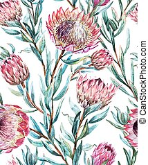 Watercolor tropical protea pattern - Beautiful vector...