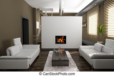 living room interior - modern living room interior (3D...