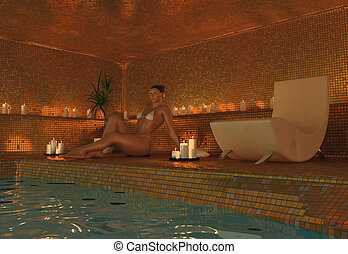 girl in spa - beauty girl in spa interior (3D rendering)