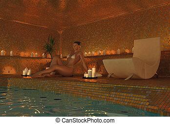 girl in spa - beauty girl in spa interior (3D rendering)
