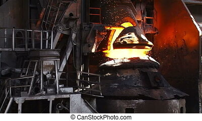 BOF slowed - Hot steel pouring in steel plant