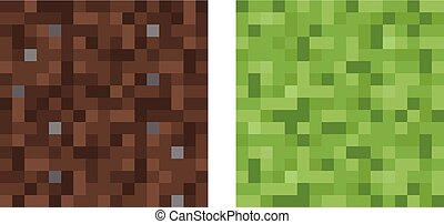 Texture for platformers pixel art vector - mud and bush...