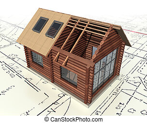 Wooden log house on the master plan. 3d model isolated on a...