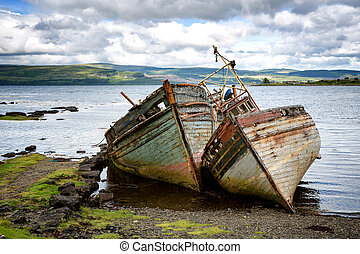 Shipwrecks - Two abandoned fishing boats in Salen Sound,...