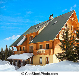 wood house on winter glade - Wonderful wood house on...