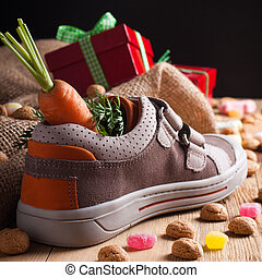 Childrens shoe and pepernoten for Sinterklaas - Schoentje...