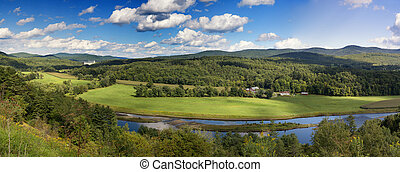 Vermont countryside panorama - A panorama of the lush green...