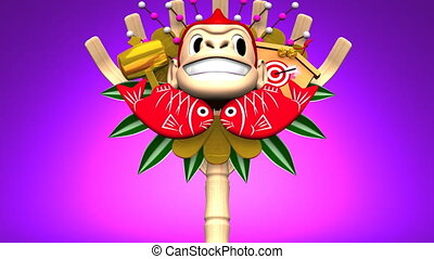 Moving Monkey Kumade On Purple Background Loop able 3D...