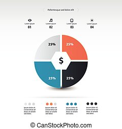 pie chart infographics template design