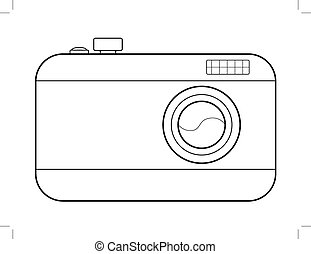 digital camera - outline illustration of digital camera