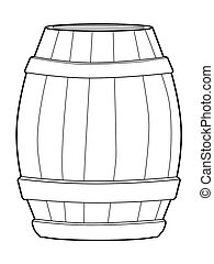 wooden barrel - outline illustration of wooden barrel
