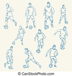 Hand drawn, Sketch football, socer player action