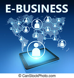 E-Business illustration with tablet computer on blue...