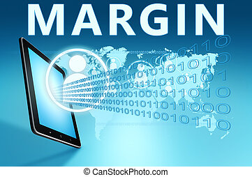 Margin illustration with tablet computer on blue background