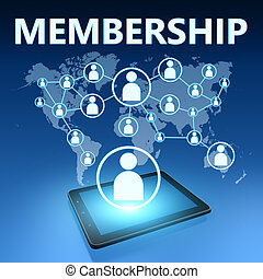 Membership illustration with tablet computer on blue...