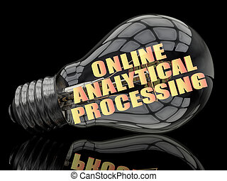 Online Analytical Processing - lightbulb on black background...