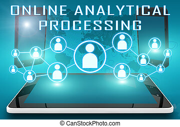 Online Analytical Processing - text illustration with social...