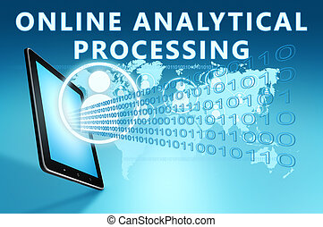 Online Analytical Processing illustration with tablet...