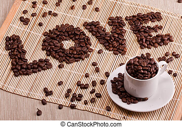 Word love laid out from coffee - Love, hearts, relations,...
