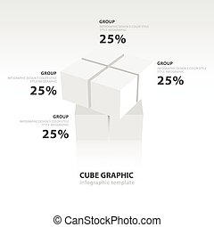 swivel cube infographic template  white color balance