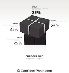 swivel cube infographic template black color balance