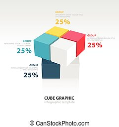 swivel cube infographic template 4 color