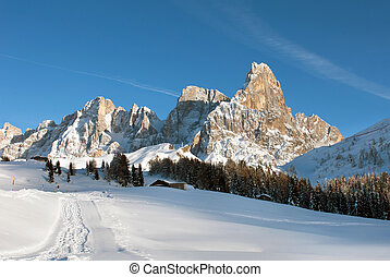 The Dolomites, Northern Italy - A picturesque winter scene...