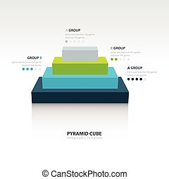 Business Infographics pyramid cube