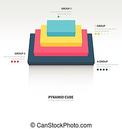 pyramid cube  infographic top view