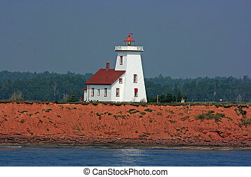 Lighthouse where the ferry from Nova Scotia docks in Prince...