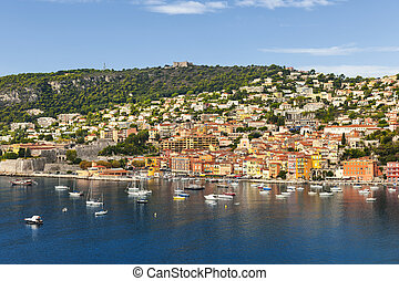 Villefranche-sur-Mer view on French Riviera - Coast view of...