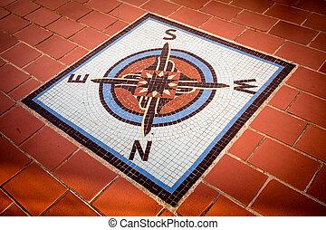 Compass - Vintage tile compass rose