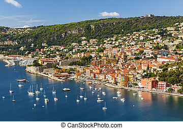 Villefranche-sur-Mer view on French Riviera - Coast aerial...