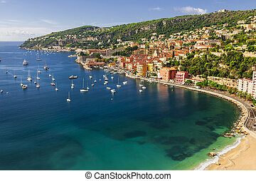 Villefranche-sur-Mer view on French Riviera - Aerial view of...