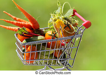 full shopping trolley of vegetables