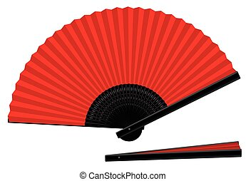 Hand Fan Open Closed Red Black - Hand fan - red an black -...