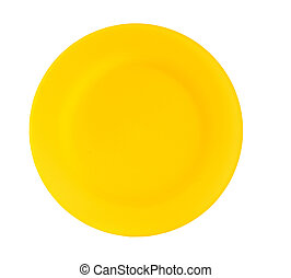 bright yellow reusable plastic plate