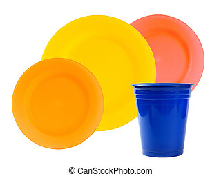 plastic plates and cup
