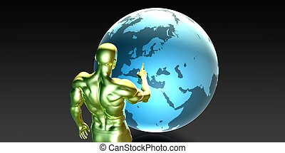 Businessman Pointing at Europe or European Business...