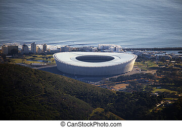 Capetown stadium views from the Tabletop Mountain, South...