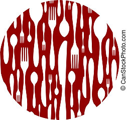 Cutlery pattern on red background - Spoon, knife and fork...