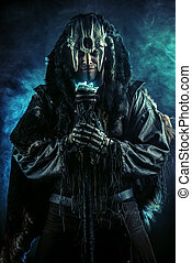 folklore - Ancient shaman warrior. Ethnic costume. Paganism,...