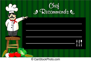 Chef with a blackboard for his recommendations